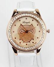 Gerrda Ladies White Lovely Owl Rhinestone Wrist Watch Quartz Fashion 403