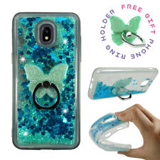 For Samsung Galaxy J3 V 3rd Gen 2018 Star Achieve Liquid Glitter Clear Case Ring