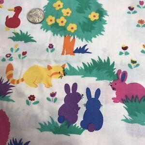 Fun Zone Hoffman CA Fabric Vtg 80s Animal Print Sheep Ducks Raccoon By the yard