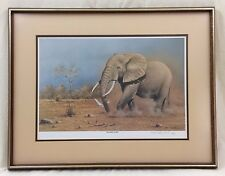 "Signed Rob MacIntosh 1984 Framed Print ""Disturbed Jumbo"" Elephant #5/950"