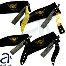 Damascus Steel Straight Razor Cut Throat Barber Salon Shaving Razor Bone Handles