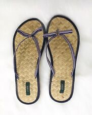 J. Crew Womens Bow Flip Flip Sandals Thong  Ribbon Striped Pink Navy Blue Sz 7