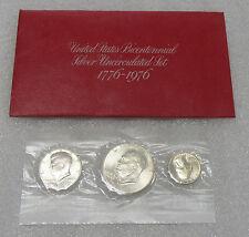 1976 US 3 Coin Mint Set 40% Silver - w/ Silver Eisenhower Dollar, Half & Quarter