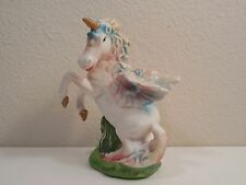 """Blue, Pink and White Ceramic Rearing Up Winged Unicorn Figurine ~ 6 1/8"""" Tall"""