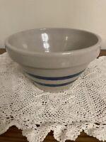 "Robinson Ransbottom Pottery 8"" Mixing Bowl Blue Stripes Roseville Ohio"