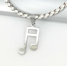 Silver Music Notes Melody Clef Symbol Pendant 3mm Braided White Leather Necklace