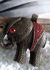 Elefanten Anhänger für Kette Halskette Bronze Strass Rot XL Elefant Afrika Tier