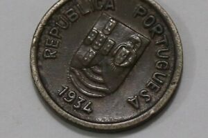 INDIA PORTUGUESE PORTUGAL 2 TANGAS 1934 SCARCE SHARP DETAILS B34 #K5313