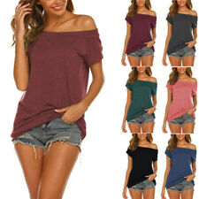 Women Summer Strapless Short Sleeve Sexy T-Shirt Casual Loose Solid Fashion Tops