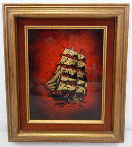 Vintage Jack White Echruseos Gold Leaf Foil Serigraph Galleon Ship Texas Artist