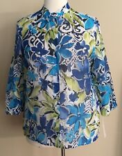 NWT Alfred Dunner Button Front Shirt Blouse Burnout Blue Green Multi Floral 18