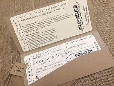 1 Vintage/Shabby Chic Style pocket ticket wedding invitation stationery sample