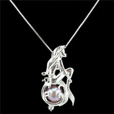"""K1159 S925 Sterling Silver Mermaid Pearl Cage Add Pearl Diffuser Necklace 16"""""""