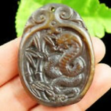 HUGE 50X38MM GENUINE JADE OLD CHINESE HAND CARVED COBRA LUCK AMULET PENDANT BEAD