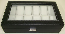 Leather Look Watch Box - 12 Watch Grids