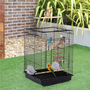 Small Bird Cage for Canary Cockatiel Budgie Parrot Open Top Travel Cage with Toy