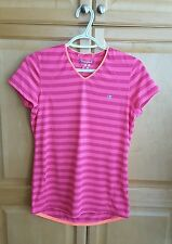 Champion Athletics Short Sleeves Pink on Pink Stripes Running Shirt Top Sz:small