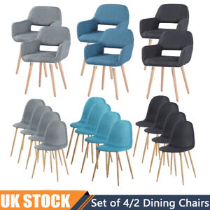 Set of 4/2 Dining Chairs Linen Padded Seat High Back Wood Metal Legs Chair UK
