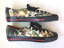 DRAVEN Tokyo Japan Hiro Men's Leather Tattoo Low Top Sneakers ~ Size 8.5