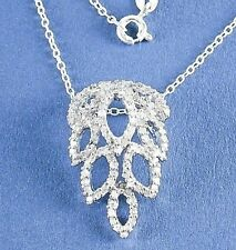 "Genuine Diamond Necklace .71ct in 925 Sterling Silver 18"" Appraisal Included"