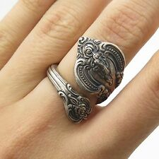 Vtg 1964 Towle 925 Sterling Silver Wide Spiral Adjustable Spoon Ring Size 5