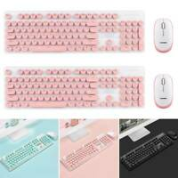 N520 Retro Chiclet Round Wireless Silent Keyboard And Mouse Set For PC Laptop!
