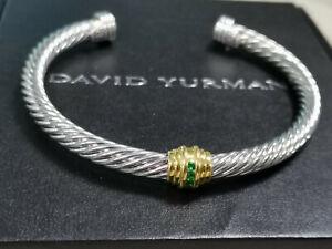 Very Beautiful Classic David Yurman, 925 Sterling Silver Green Diamond Bracelet