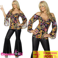 Ladies 60s 70s Go Go Retro Hippie Costume Dancing Groovy Disco Hippy Fancy Dress