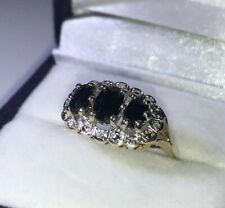 9ct Yellow Gold Blue Sapphire & Diamond 3 Stone Cluster Ring Size L Hallmarked