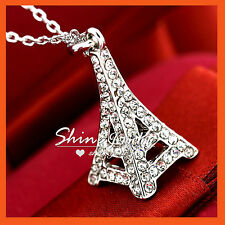 18K WHITE GOLD GF P71 PARIS EIFFEL TOWER GIFT NECKLACE PENDANT DIAMOND CRYSTAL
