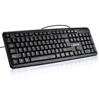 Full Size 104 Keys Standard Keyboard Comfortable Quiet Keys Wired Slim Durable