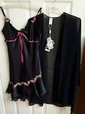 Coemi Women Size 10 Silk Satin Black Chemise and Chiffon Robe Designer Lingerie
