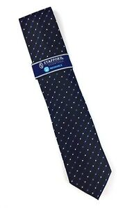 Stafford Essentials Mens Neck Tie Black with Gray & Blue Dots Washable NWT