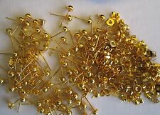 100 x STUD Earring Posts + Backs GOLD Plate/ tone 50pair make your own Ear Rings