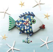 MICHELLE ALLEN Designs WALL CLOCK Decor FISHY LIP Swing Pendulum BLUE GREEN FISH