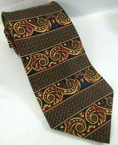 "BURBERRY London Mens Silk Tie Horizontal Stripe Scroll Flourish 3.75""x 57"" Blue"