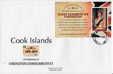 Isole Cook 2013 FDC REGINA ELISABETTA II INCORONAZIONE sessantesimo ANNIV IV copertura del foglio