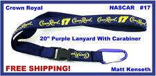 "Crown Royal Whiskey NASCAR #17 Matt Kenseth 20"" Purple LANYARD Carabiner Buckle"