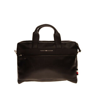 RRP €115 TOMMY HILFIGER Briefcase Business Bag PU Leather Laptop Pocket Zipped