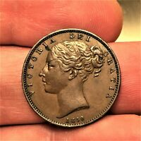 Dated : 1850 - Copper Coin - One Farthing - Queen Victoria - Great Britain