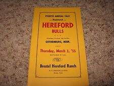 4th Annual Hereford Bulls Sale Mar 3, 1955 (Gothenburg, Nebr.) Brestel Ranch