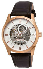 Invicta Objet d' Art 22637 Men's Round White Automatic Brown Leather Watch