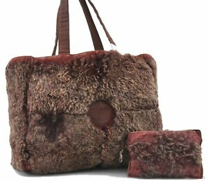 Authentic Chanel Rubbit Fur Tote Hand Bag Suede Red Brown D5130