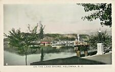 A View On The Lake Shore, Kelowna BC Canada Handcoloured RPPC 1949