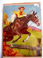 Graceful 1942 Sample Calender w/ Young Woman on Horse Jumping Fence *
