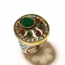 Silver Emerald Ring Us 9.5 Gift Vintage Antique Turkish Jewelry Sterling