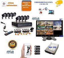 """Videosorveglianza Kit Dvr 8Ch Visione Web iphone 8 Telecamere Monitor 9"""" HD Cavi"""