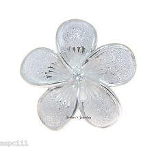 Plumeria Flower Cz Slider Pendant 30Mm Sterling Silver 925 Hawaiian