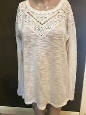 NWT by SANCTUARY White Pullover Long Sleeve LACE & WOVEN BLOUSE Size Small