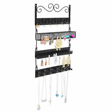 Wall Mounted Black Metal 18 Hook Hanging Jewelry Organizer Rack